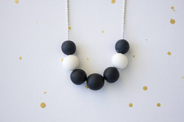 Blue white beaded necklace gift, navy white small necklace, polymer clay... - $19.00