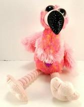 Wild Republic Hot Pink Flamingo Purple Jewel Heart Plush Blue Eyes Stuffed Shiny - $12.86