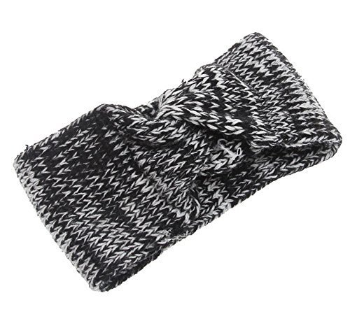 Fashion Knitted Headband Crochet Bow Hair Wrap, Black
