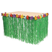 Hawaiian Luau Pool Hibiscus Green Table Grass Flower Skirt 9ft Party Dec... - $10.39+