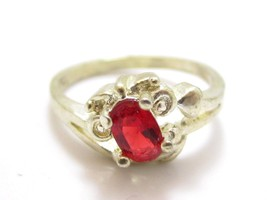 Bright Orange Red Small Oval Red Stone Sterling Silver Size 6 Ring*925*590D - $24.70