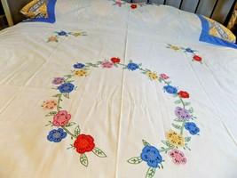 "Vintage Tablecloth / Bedspread White Floral Applique 82 x 104"" (3-3-18-21) - $25.74"