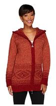Aran Craft Wool Long Intarsia Zip Hoodie , Rust, Size XXS, MSRP $144 - $79.19