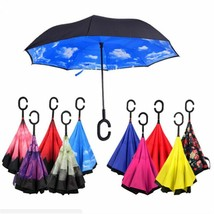 Double Layer Sun Rain Umbrella Reverse Long Handle Windproof Unisex Cover - $25.73+