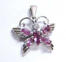 Butterfly Genuine Pink TOPAZ & Diamond 10K White Gold Pendant - $121.08