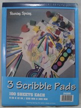 "Scribble Doodle Art Draw Drawing Pad 3 books/100 sheets ea 9"" x 12"" - $17.82"