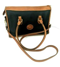Dooney & Bourke Vintage Black Brown Leather Zip Top Large Crossbody Bag 1980 - $49.49