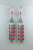 Chandelier Earrings, Handmade Long Red Green Pink Glass Bead Silver Earr... - $30.00