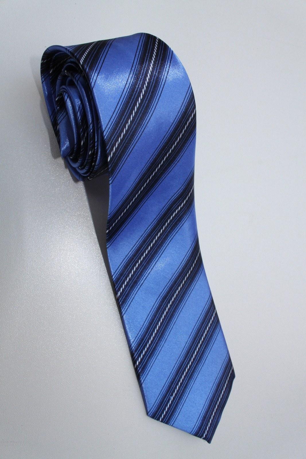 Primary image for SLIM Blue Black White Striped Men Formal Fashion Neck Tie