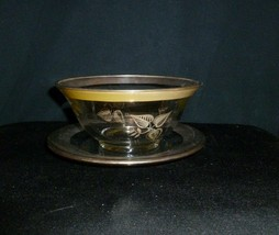 "Georges Briard Glass Bowl and Saucer Gilt Designs 6"" - $12.38"
