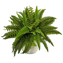 Nearly Natural Boston Artificial Fern in Planter, Green - $46.67