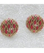 Vintage Gold Tone Button Post Earrings w Pink Enamel Waffle Design - $125.00