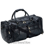 "Black Leather 25"" Tote Duffle Bag Gym Sport Travel Overnight Luggage Sat... - $36.99"