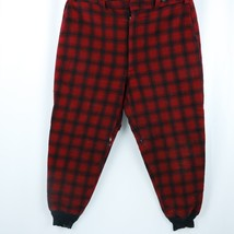 WOOLRICH 1960s Buffalo Plaid Wool Mackinaw Hunting Pants Red Black Sz 46 - $31.99