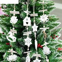 Wooden Craft Christmas Tree Decor Hanging Pendant Bell Snowflake House O... - $2.64+