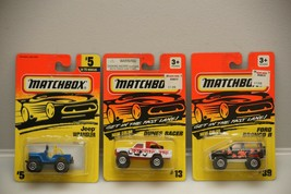 Matchbox (Lot of 3) Vehicles 1:64 NIP Jeep Wrangler/Dunes Racer/Ford Bronco II - $4.99