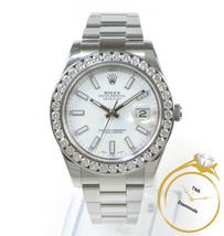 Rolex Datejust 2 II Custom 4.5 Carat Diamond Bezel White Stick Dial 116300 41mm - $10,799.00