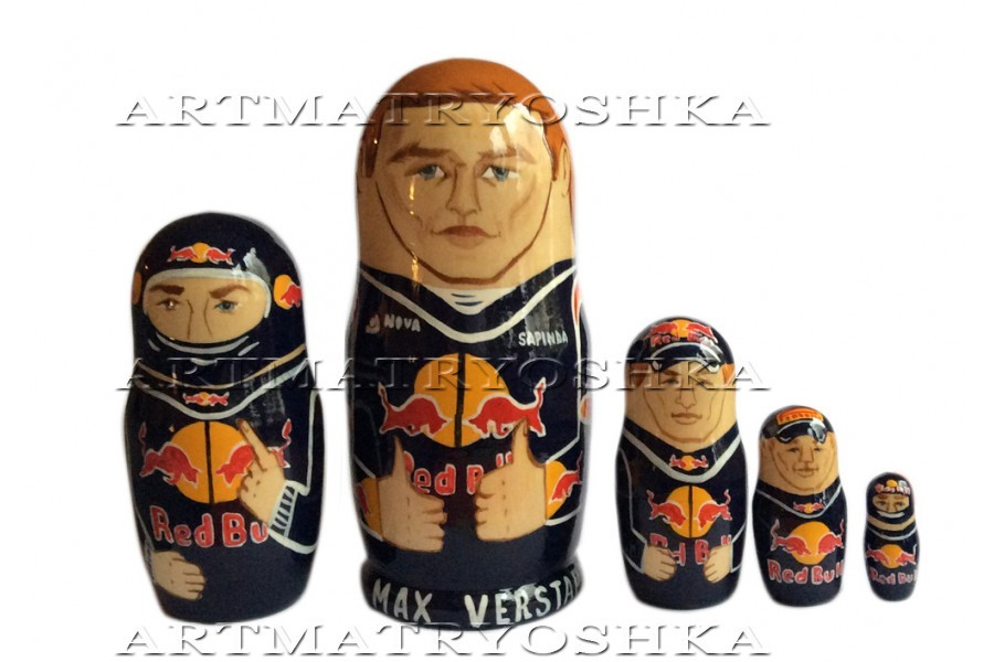 Max Verstappen Red Bull nesting doll matryoshka babushka doll 5 pc, 6""