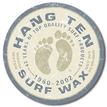 Hang Ten Surf Wax Quality Surfing Products Round Metal Sign - $19.95