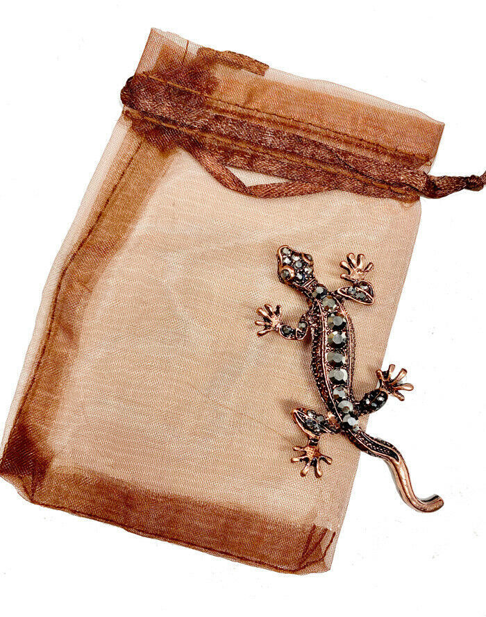 "Primary image for 2.75"" Tall Copper Tone Simulated Hematite Rhinestones Gecko Lizard Brooch, Pin"