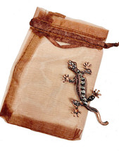 "2.75"" Tall Copper Tone Simulated Hematite Rhinestones Gecko Lizard Brooc... - $12.35"