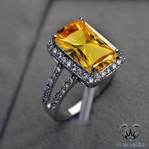 Solitaire W/ Accents Ring Rectangular Shape Yellow Sapphire White GP 925... - $84.99