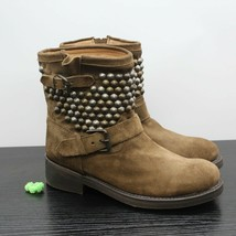 ASH Titan Mid Calf Suede Leather Studded Moto Buckle Biker Boots Size 39 - $173.25