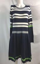 Vince Camuto White & Navy Blue Stripes Sweater Dress, Womens Size L - $33.24