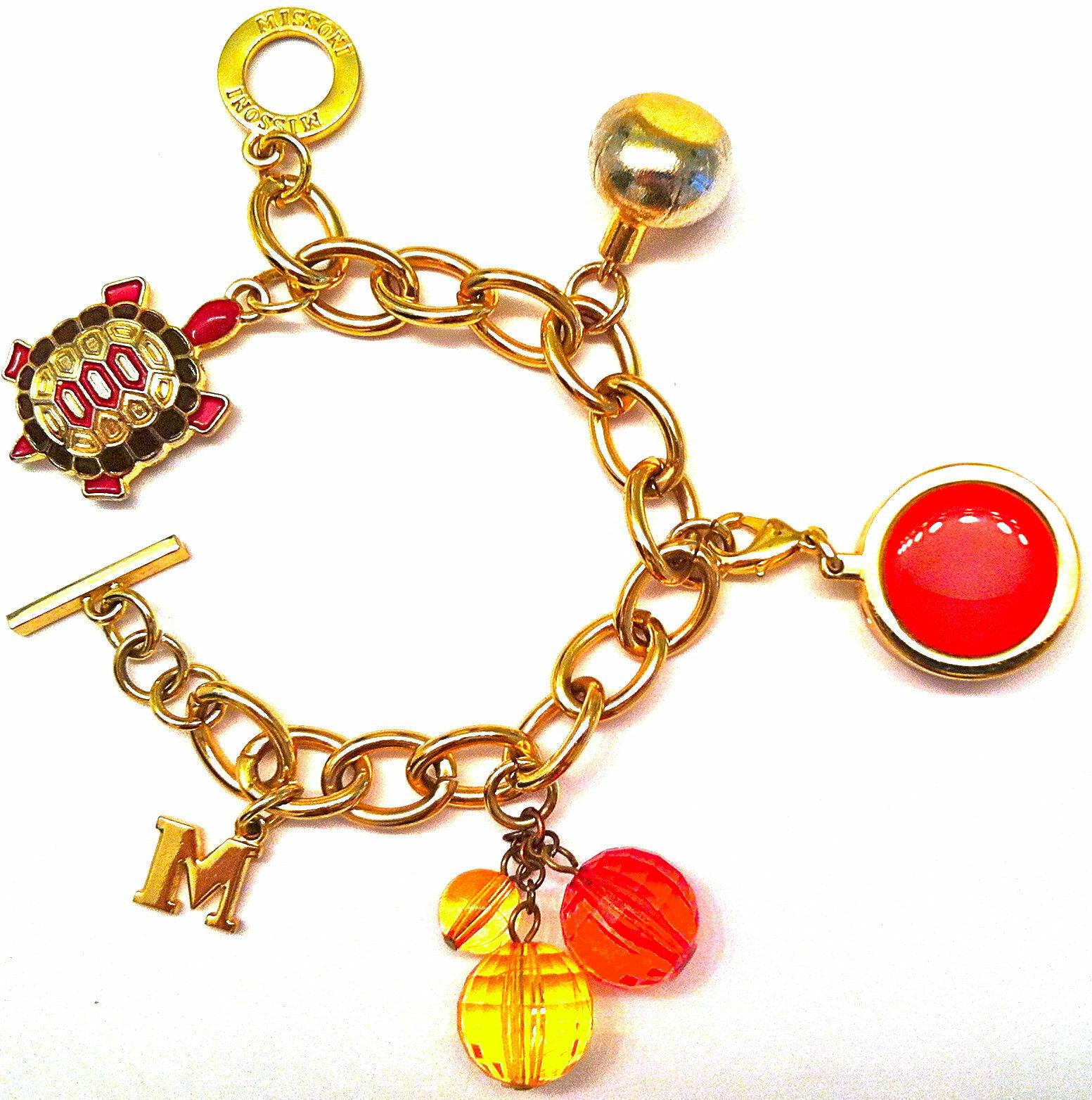 "AUTHENTIC MISSONI JEWELRY PINK TURTLE LOGO GOLD CHARM BRACELET 8"" W/ PERFUME EUC - $79.99"