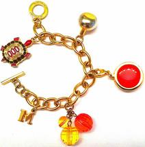 "AUTHENTIC MISSONI JEWELRY PINK TURTLE LOGO GOLD CHARM BRACELET 8"" W/ PER... - $79.99"
