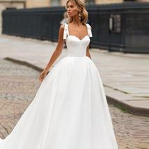 Sleeveless Sweetheart Neckline Back Lacing Simple Princess Bridal Gown with Cour image 2