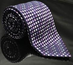 GEORGE STRIPED MICRO DOTS SQUARES DIAGONALS BLACK Blue Silk Necktie Tie New - $18.47