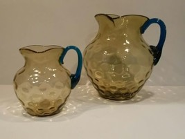 Pair of Antique Victorian Art Glass Coin Dot Water Pitchers. Amber and Blue - $148.50