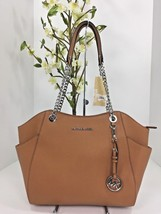 New Michael Kors Jet Set Travel Saffiano Leather Shoulder Tote Bag Acorn... - $193.49