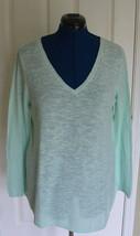 Eileen Fisher Bio Leinen Baumwollmischung V-Ausschnitt Grün L Pullover - $40.05