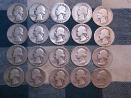 20 - EARLY WASHINGTON 90% SILVER QUARTERS - $5.00 FACE VALUE -20 COINS -... - $79.99