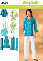 Simplicity Easy to Sew Pattern 4149 Misses Skirt, Pants, Tunic Top and Scarf Siz - $13.48