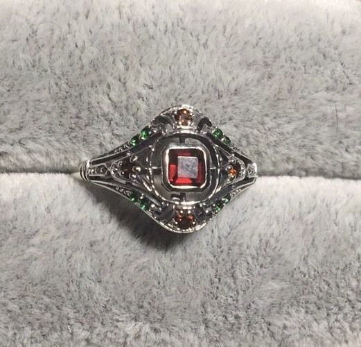 1CT Smoky Topaz & Emerald 925 Sterling Silver Art Deco Ring Sz 8
