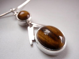 New Trendy Tigers Eye 925 Sterling Silver Pendant Corona Sun Jewelry Brown - $10.88