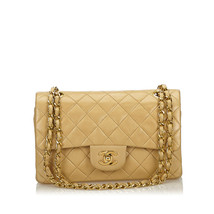 Pre-Loved Chanel Brown Classic Small Lambskin Leather Double Flap Bag France - $2,081.56