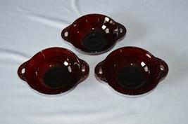 3 Anchor Hocking Royal Ruby Coronation 2 Handled Bowls - $14.85