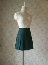DARK GREEN Pleated Skirt Women Girls Campus Style Pleated Mini Skirt - Plus Size image 4