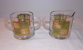 CULVER PRADO Vintage Set Gold Green Creamer With Open Sugar RARE Mid Cen... - $34.64