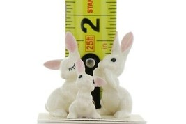 Hagen Renaker Miniature Rabbit White Bunny Family 3 Piece Set image 2