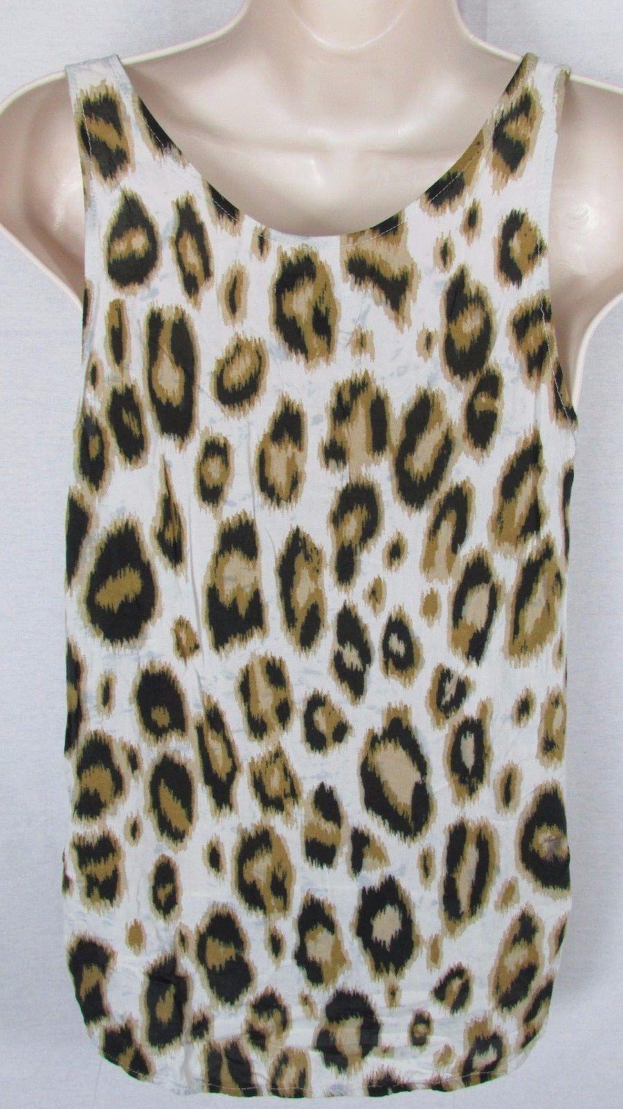 3eebc3e3359d66 S l1600. S l1600. Previous. women Old navy sheer Cream brown tan black  animal print rayon tank top Medium