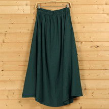 Women A Line Pleated Linen Skirts Linen Boho Skirt, Burgundy Beige Blue,One Size image 4