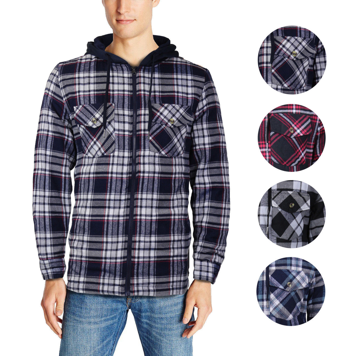 U.S. Life Men's Zip Up Plaid Checkered Quilted Flannel Sweater Hoodie Jacket