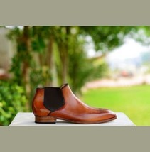 Handmade Men's Brown Leather High Ankle Brogues Chelsea Boots image 2