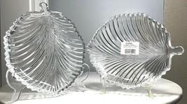 """Vintage Pair Mikasa Diamond Fire 8.25"""" Crystal Leaf Plate Dish WY247/915... - $28.50"""
