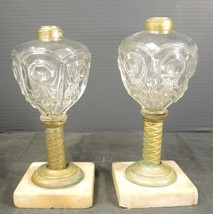Pair of 1860's EAPG Bullseye and Fleur de Lis Fluid Lamps - $94.99